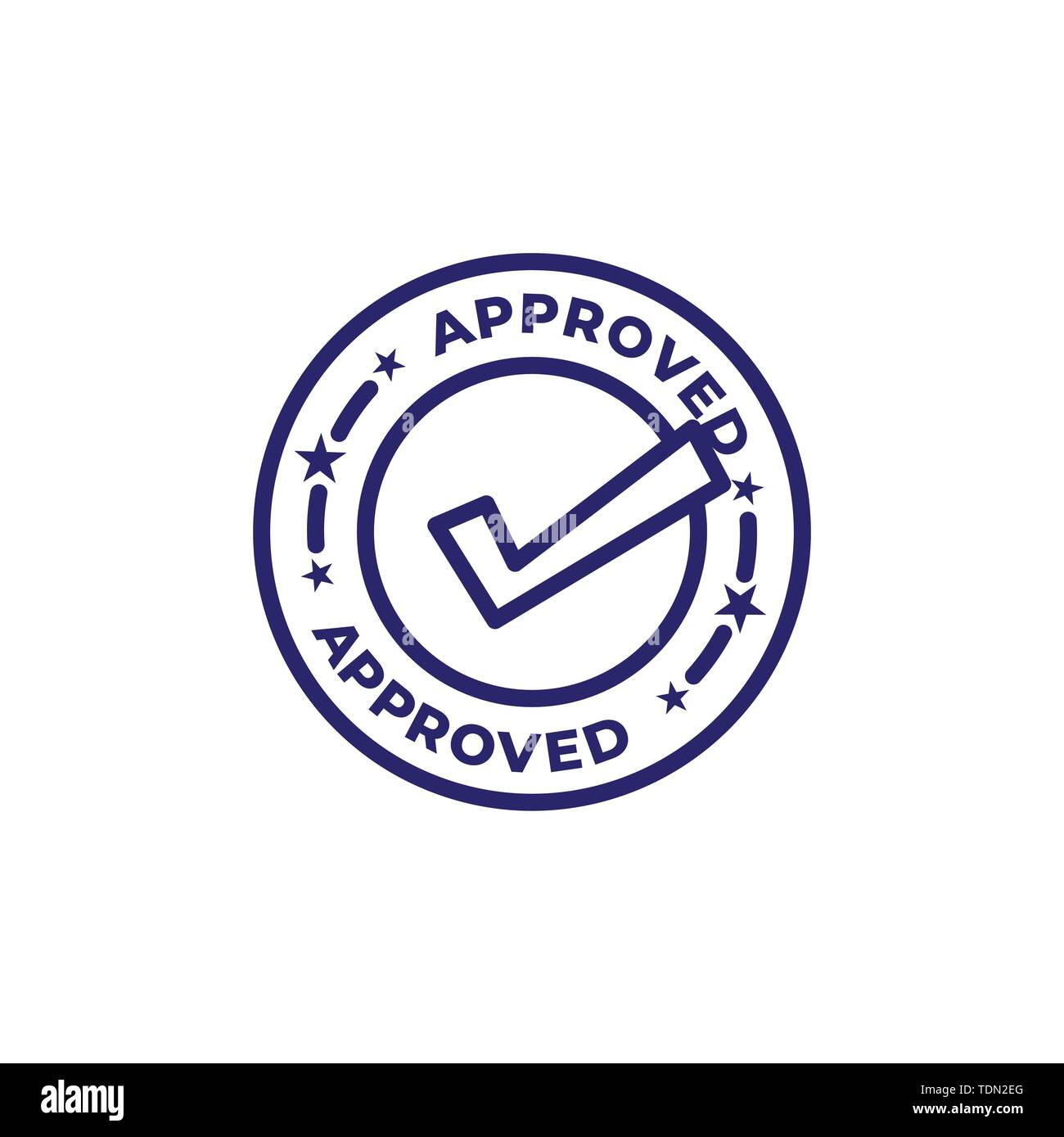 Approval and Signature Icon w approved imagery - to show someone's given the go ahead - Stock Image