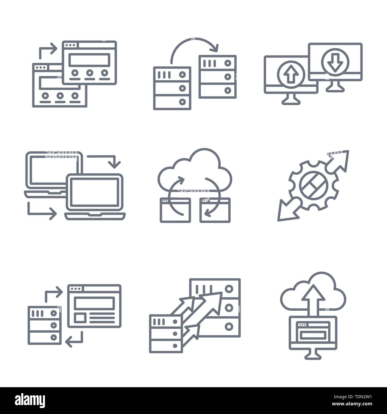 Website Data Transfer Icon Set w laptops, arrows, and imagery of transfer - Stock Image