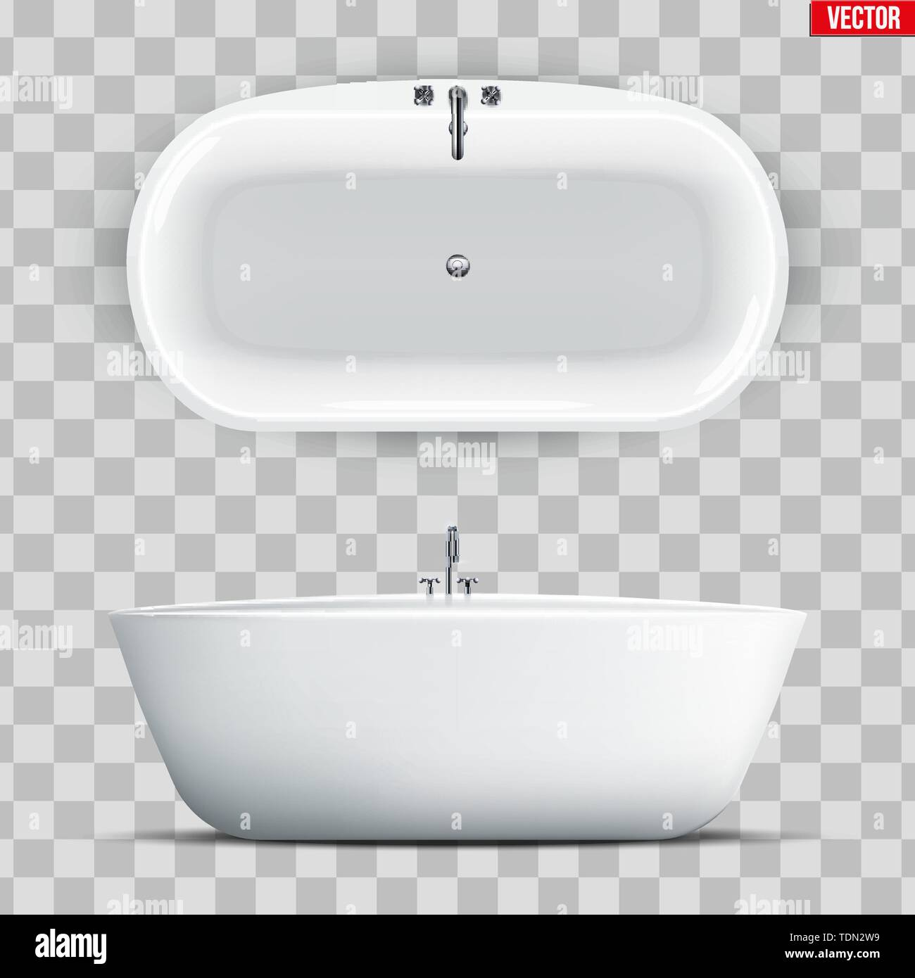 Set of Modern bath isolated on transparent background. Top and Front view. Element for design bathroom. Vector Illustration - Stock Image