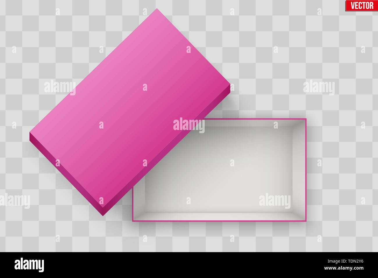Blank of Opened Pink Shoes Box With Lid. Mockup Rectangle Paper box container. Vector Illustration isolated on transparent background. - Stock Image