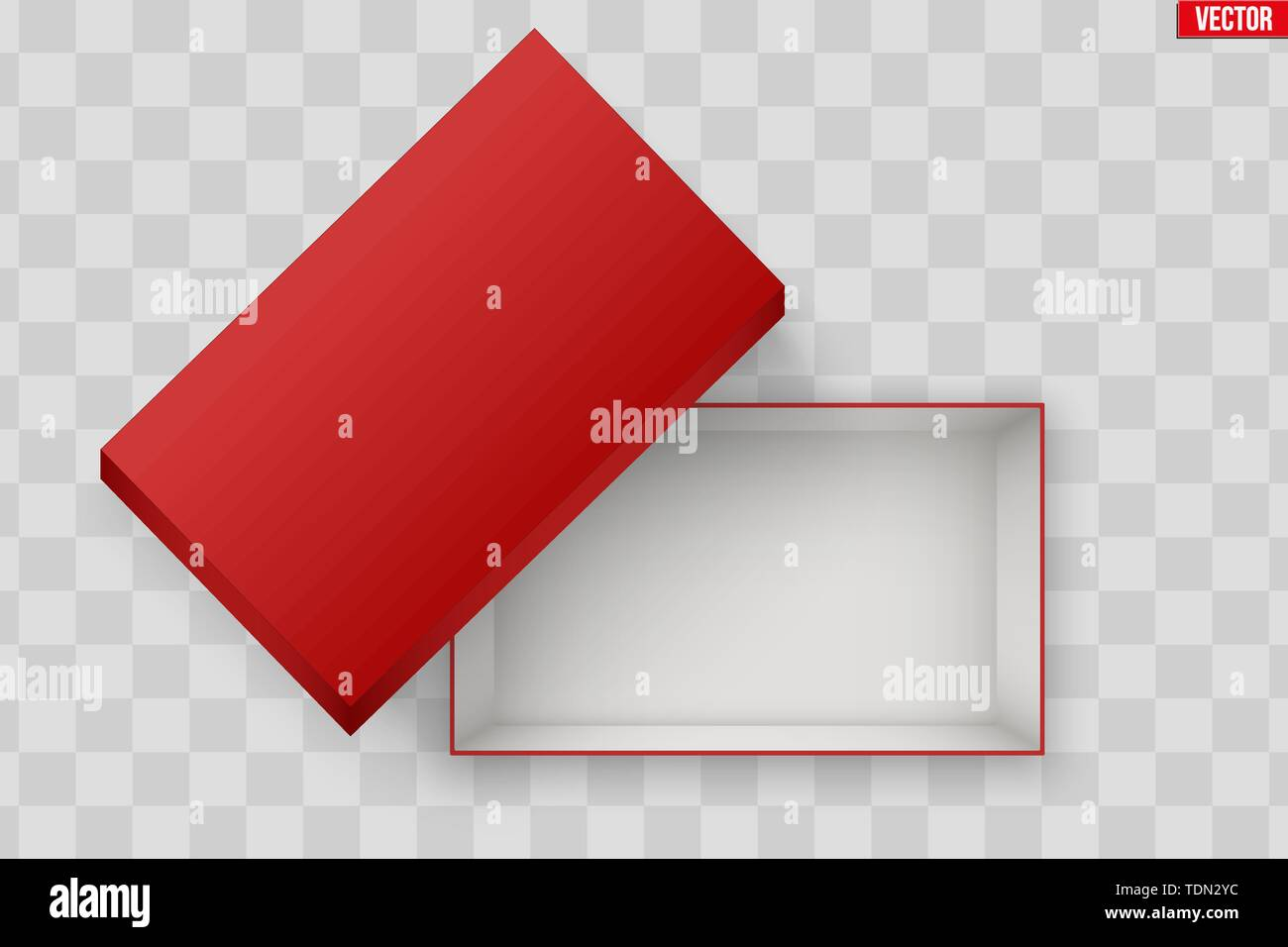 Blank of Opened Red Shoes Box With Lid. Mockup Rectangle Paper box container. Vector Illustration isolated on transparent background. - Stock Image