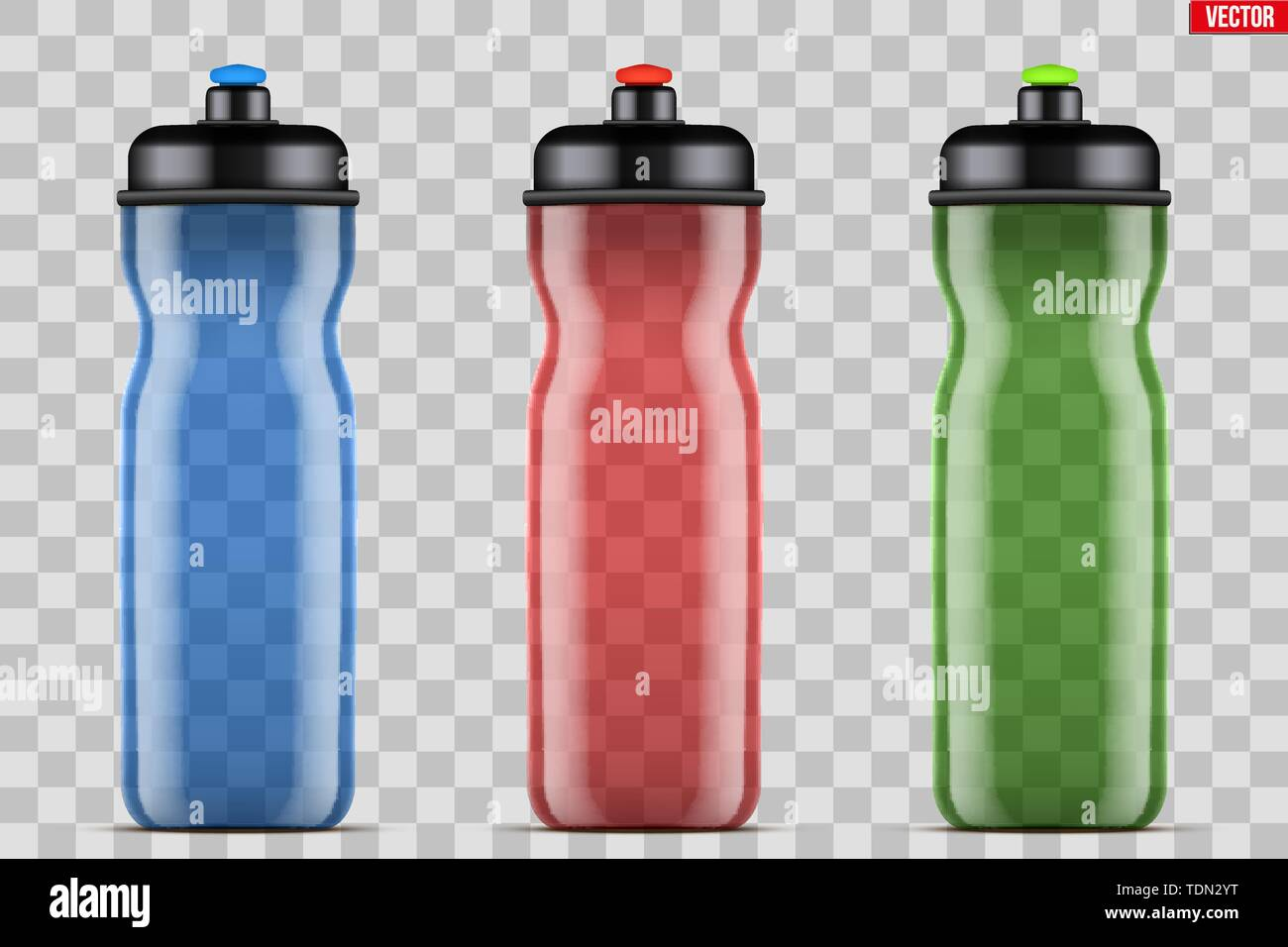 Mock-up Plastic Sport Nutrition Drink Bottle. Transparent plastic. For Whey Protein and Gainer Supplements. Fitness and GYM sports. Vector Illustratio - Stock Image