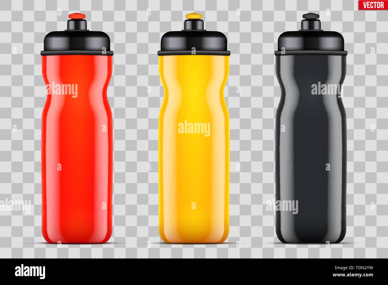Mock-up Plastic Sport Nutrition Drink Bottle. Multicolor plastic. For Whey Protein and Gainer Supplements. Fitness and GYM sports. Vector Illustration - Stock Image