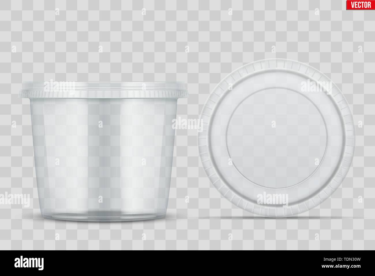Set of Clear Plastic container with lid for food. Circle Realistic Blank of Food delivery and foodstuff. Vector Illustration isolated on background. - Stock Image