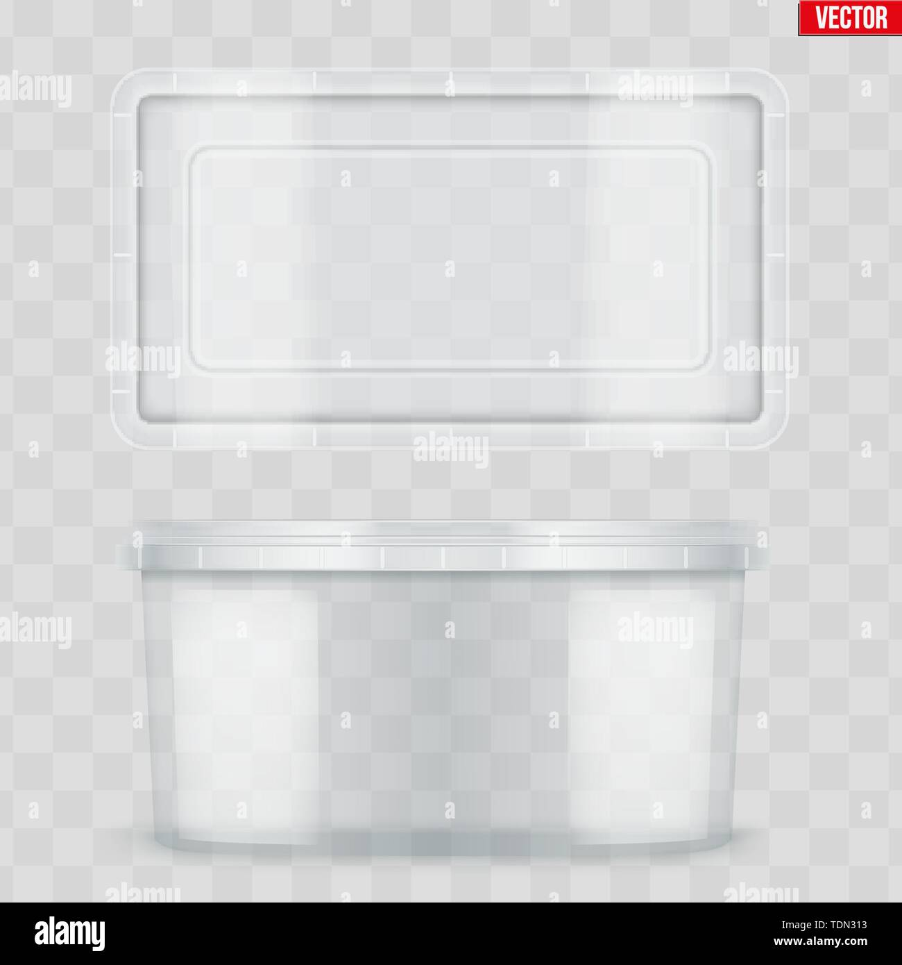 Set of Clear Plastic Rectangle container with lid for food. Realistic Blank of Food delivery and foodstuff. Vector Illustration isolated on background - Stock Image