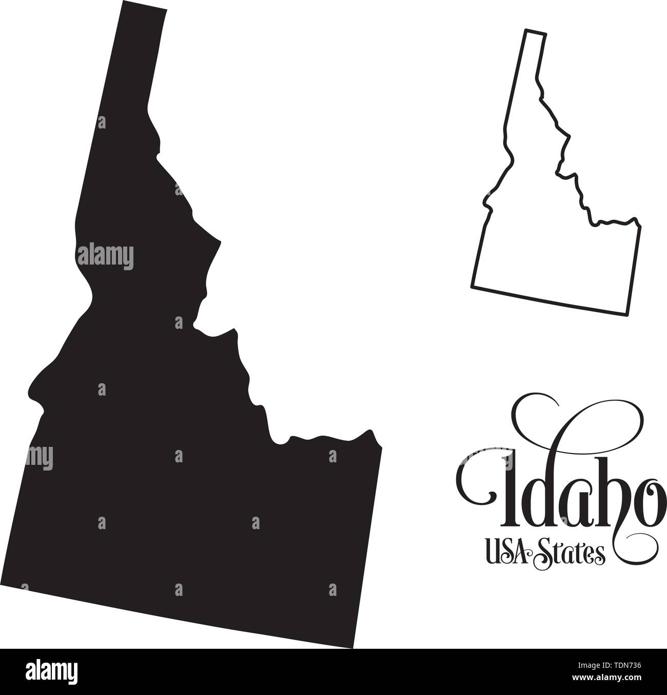Map of The United States of America (USA) State of Idaho - Illustration on White Background. - Stock Vector