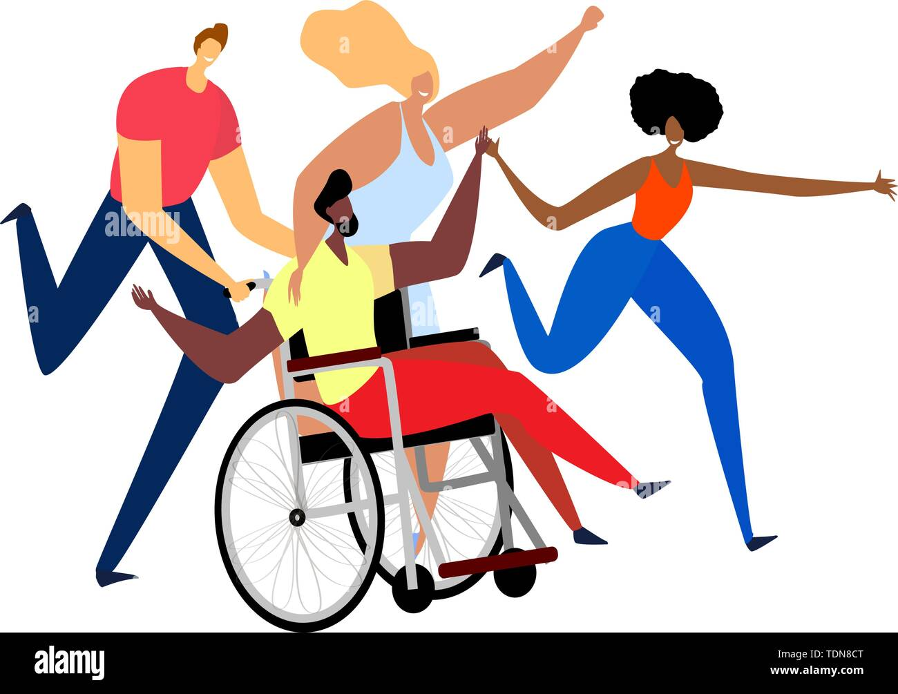 A group of different happy friends having fun with their handicapped friend. Vector falt illustration - Stock Image