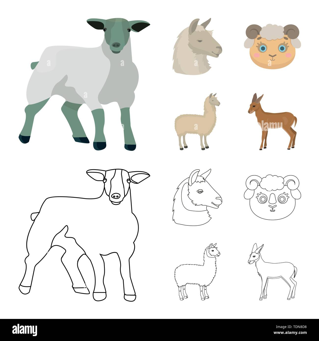 Vector illustration of sheep and goat logo. Set of sheep and happy stock symbol for web. - Stock Vector
