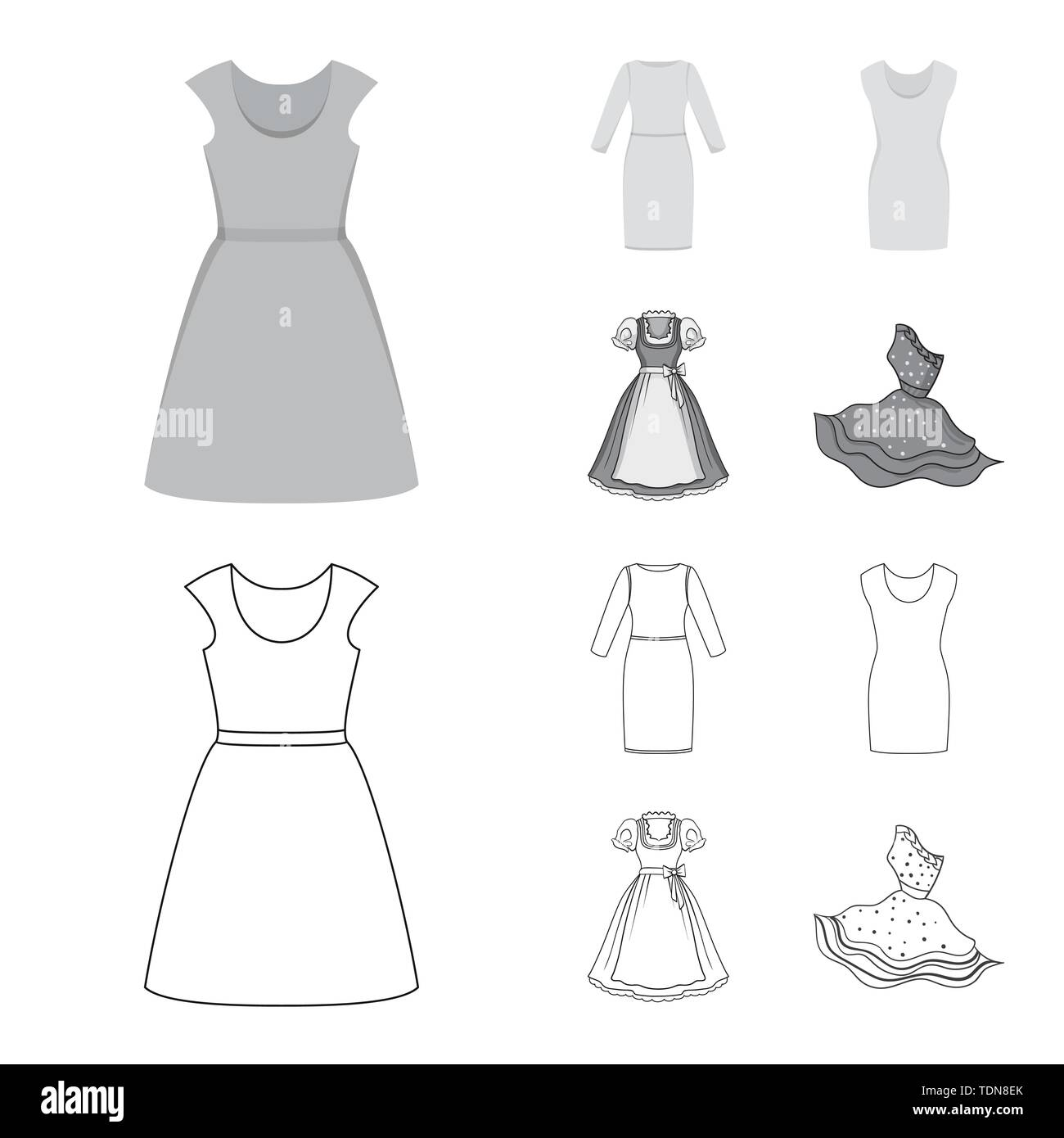 Isolated object of dress and clothes sign. Set of dress and evening stock vector illustration. - Stock Vector