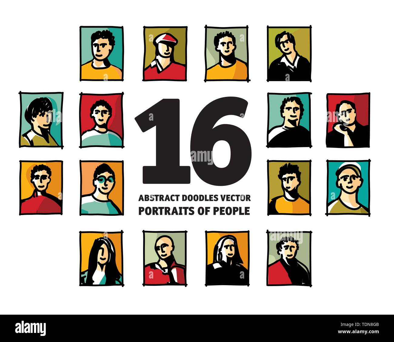 Doodles people portraits avatars abstract faces. Color vector illustration EPS8 - Stock Image