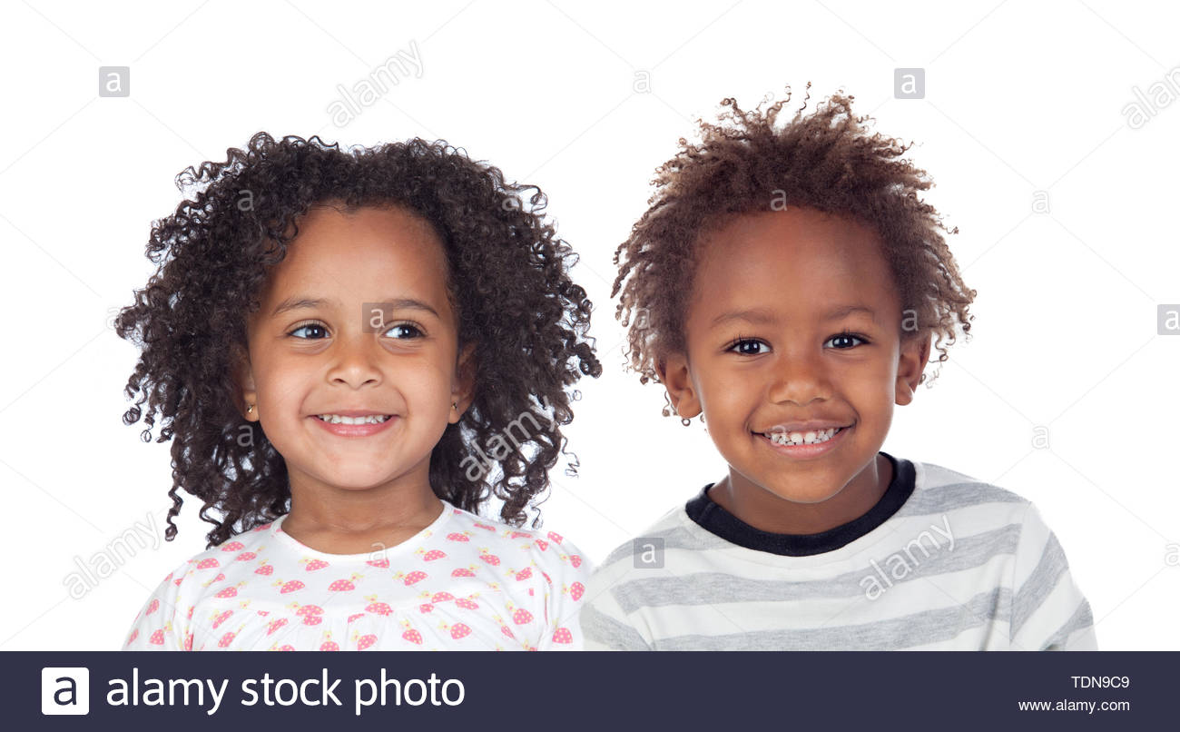 Two Afro American Children Isolated On a White Background - Stock Image