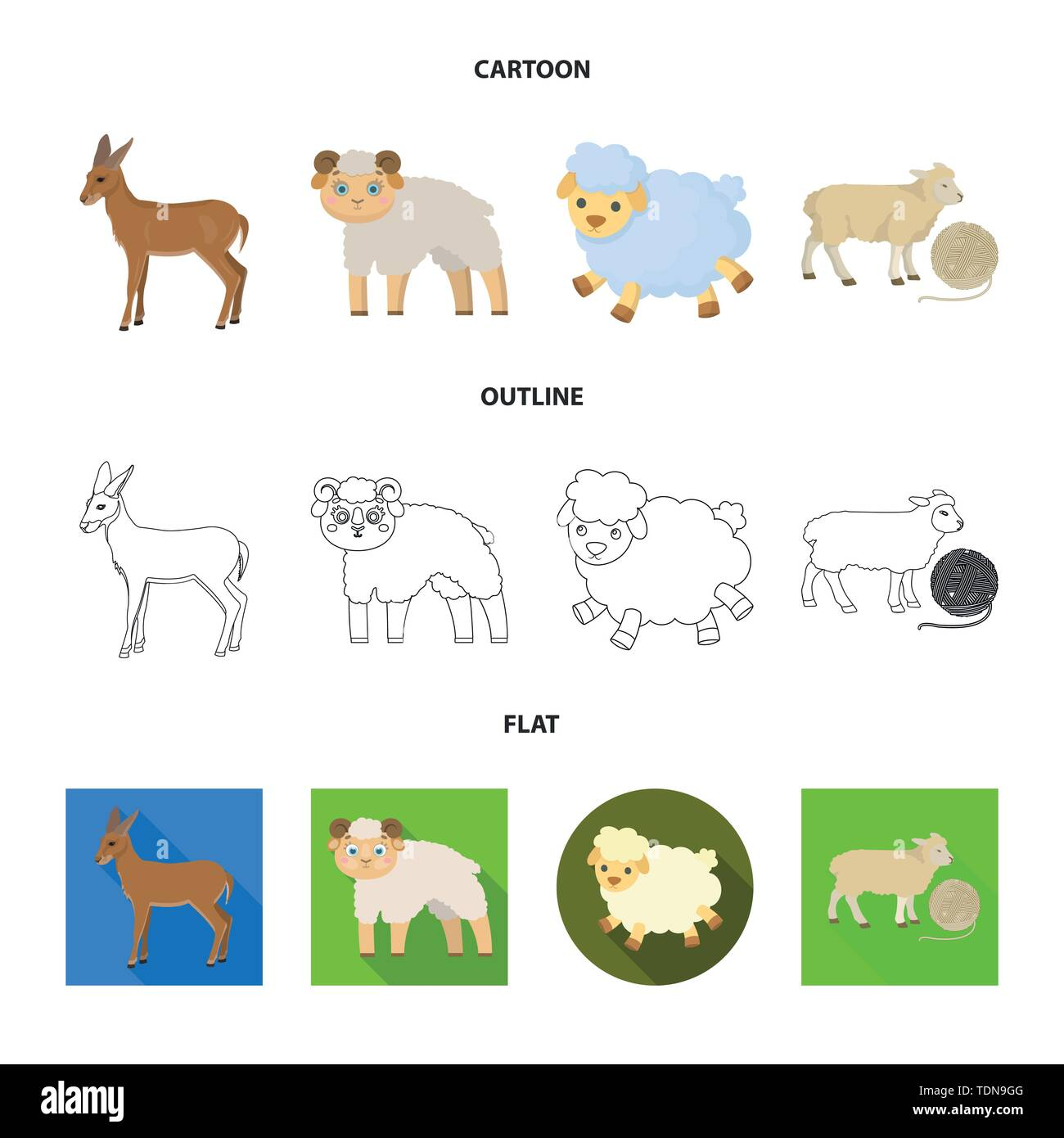 Isolated object of sheep and goat symbol. Collection of sheep and happy stock vector illustration. - Stock Vector