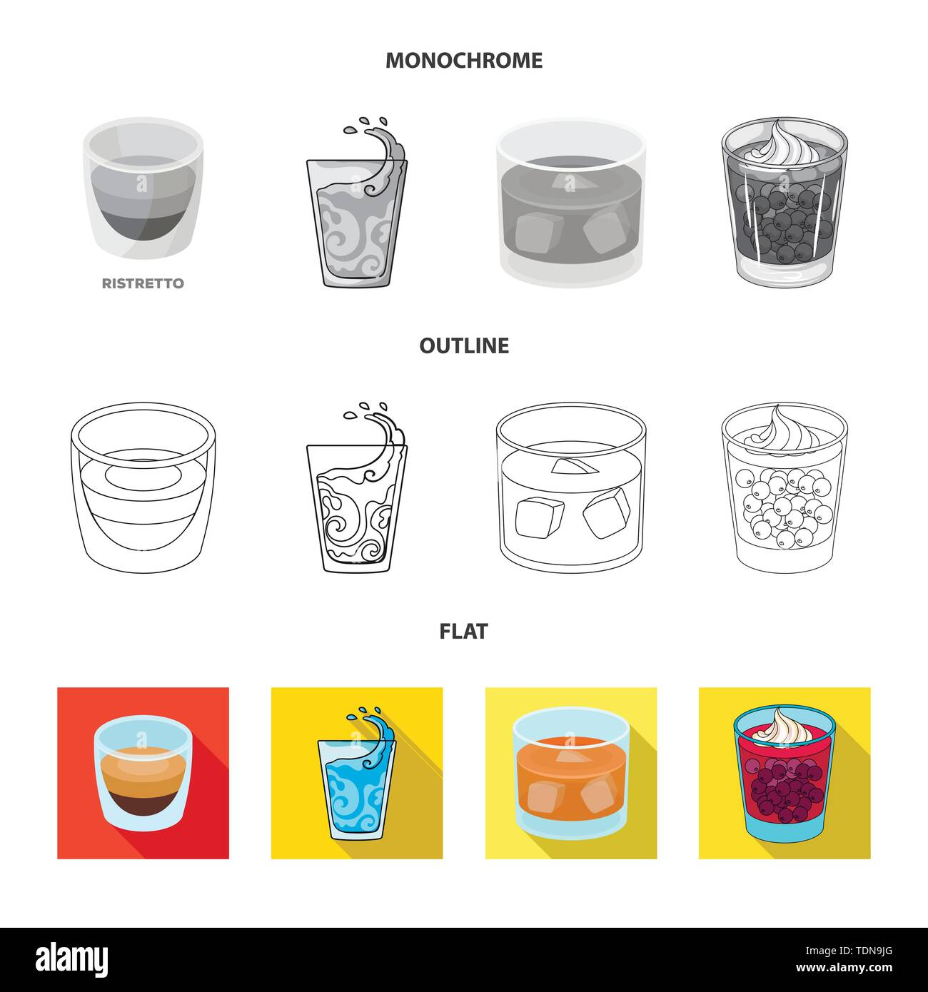 Vector illustration of glass and transparent symbol. Set of glass and empty stock vector illustration. - Stock Image
