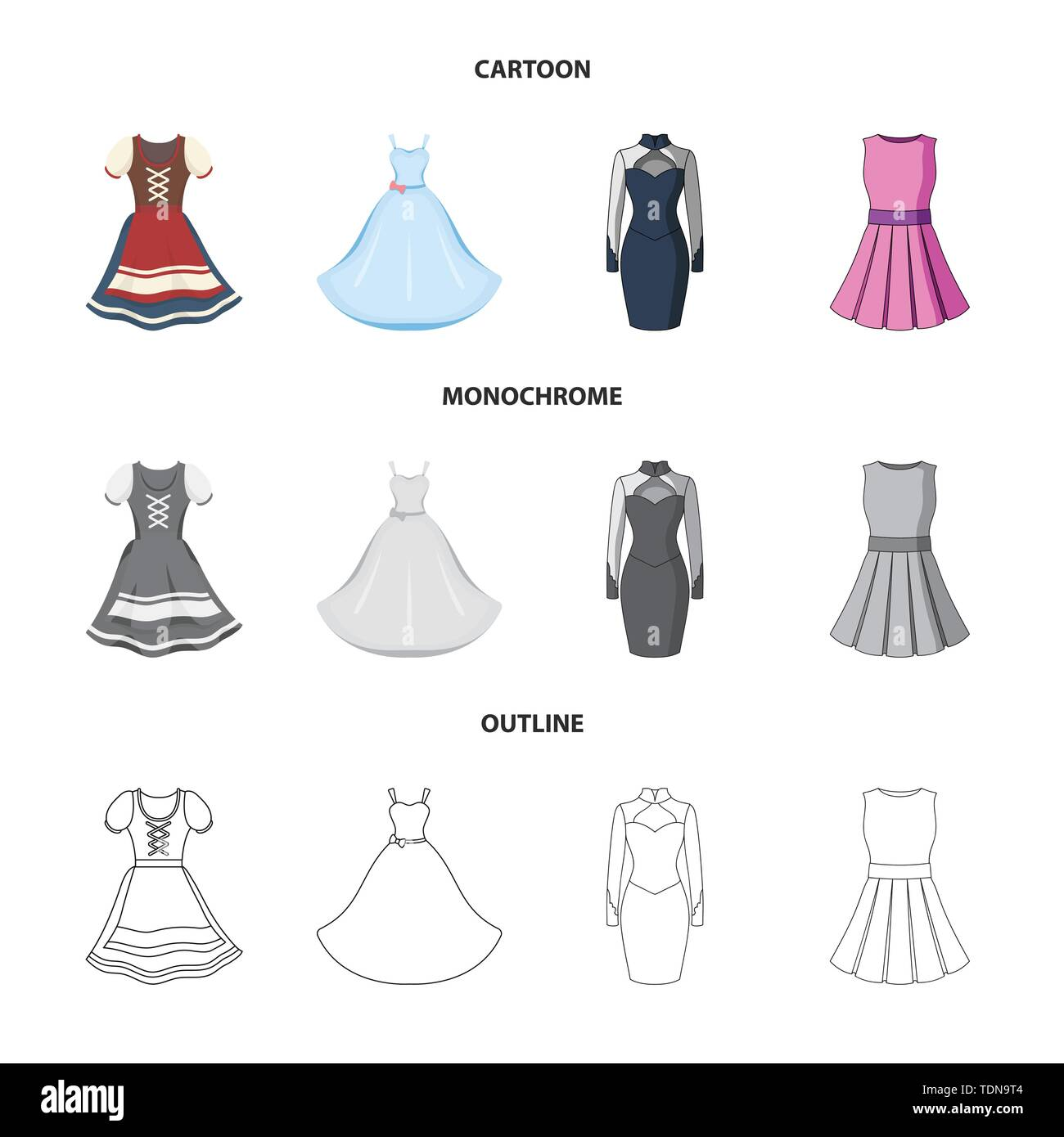 Isolated object of dress and clothes icon. Set of dress and evening stock vector illustration. - Stock Vector