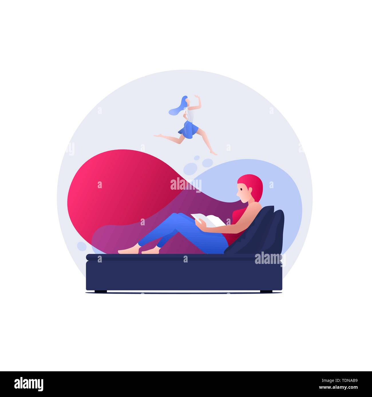 Vector illustration young woman is reading a book and dreaming. Concept illustration. - Stock Image