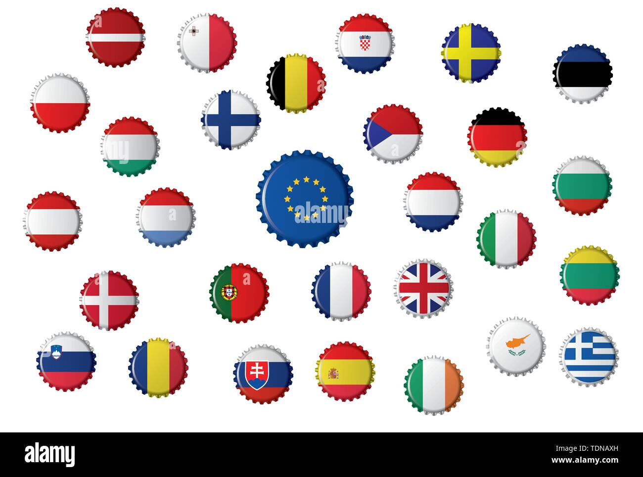 Bottle caps with different flags, the European Union and the countries that it includes. - Stock Image
