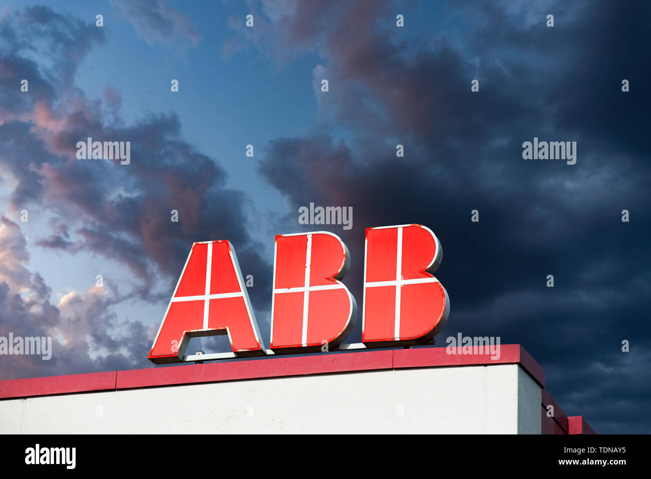 The ABB logo on the roof of a building [M] - Stock Image