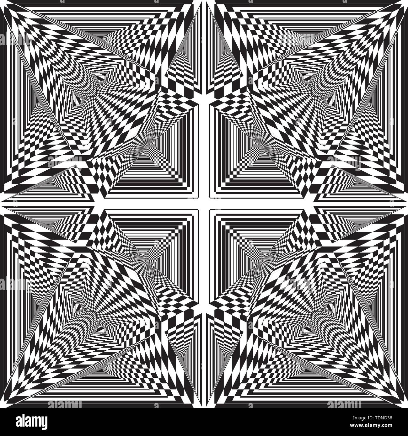 moultiple triangle intersections inspired strukture abstract cut art deco illustration on transparent background - Stock Image