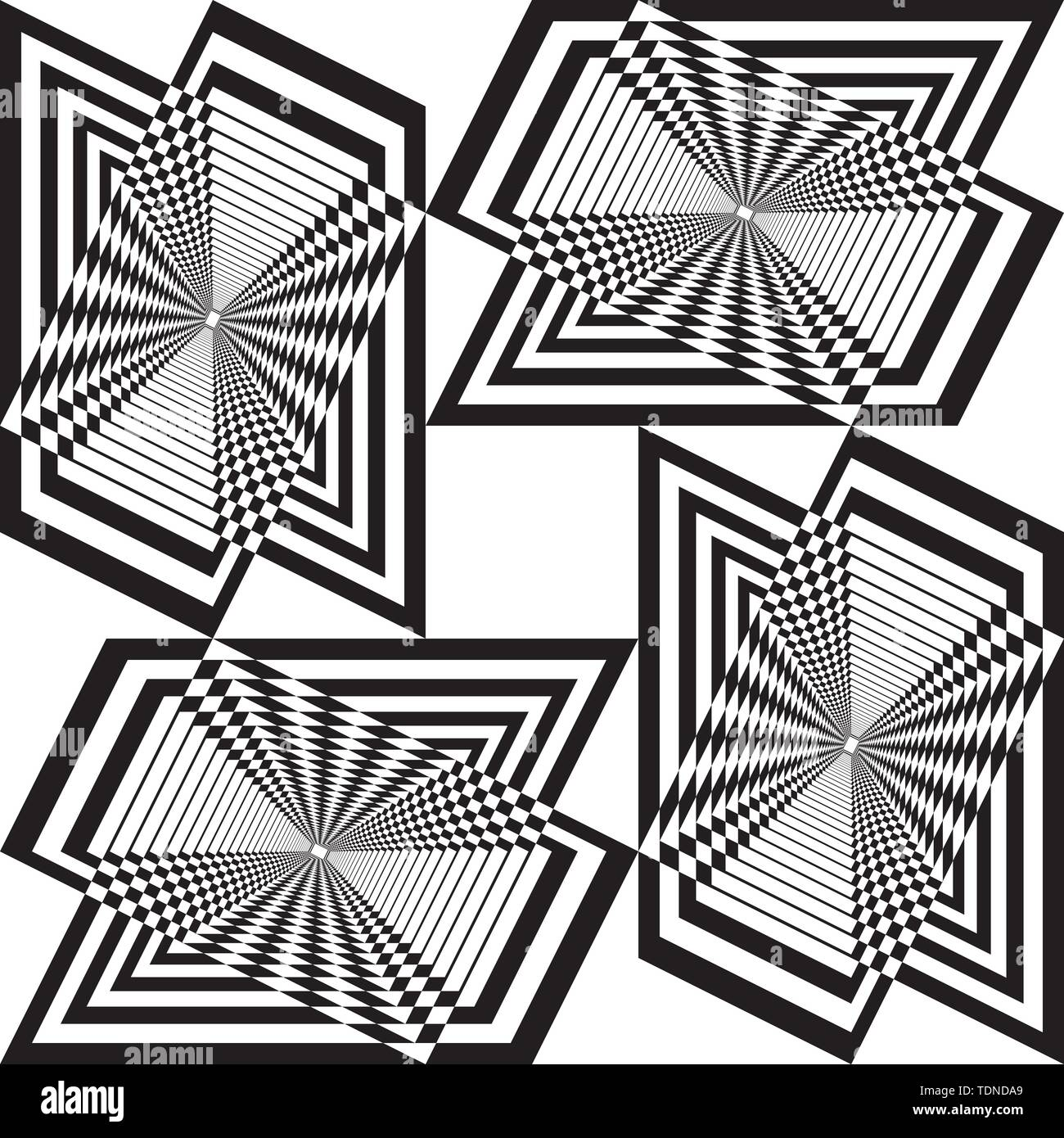 moultiple triangle intersections chessboard inspired seamless strukture abstract cut art deco illustration on transparent background - Stock Image