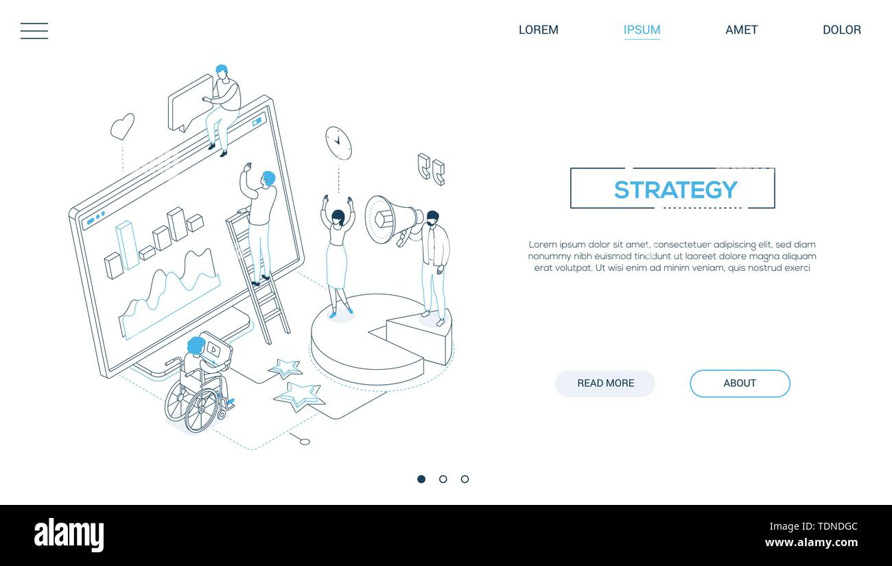 Strategy - line design style isometric web banner on white background with copy space for text. Website header with male, female SMM specialists analy - Stock Image