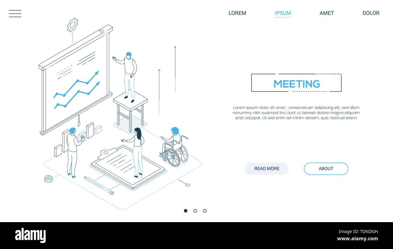 Business meeting - line design style isometric web banner on white background with copy space for text. A header with male advisor, consultant showing - Stock Image