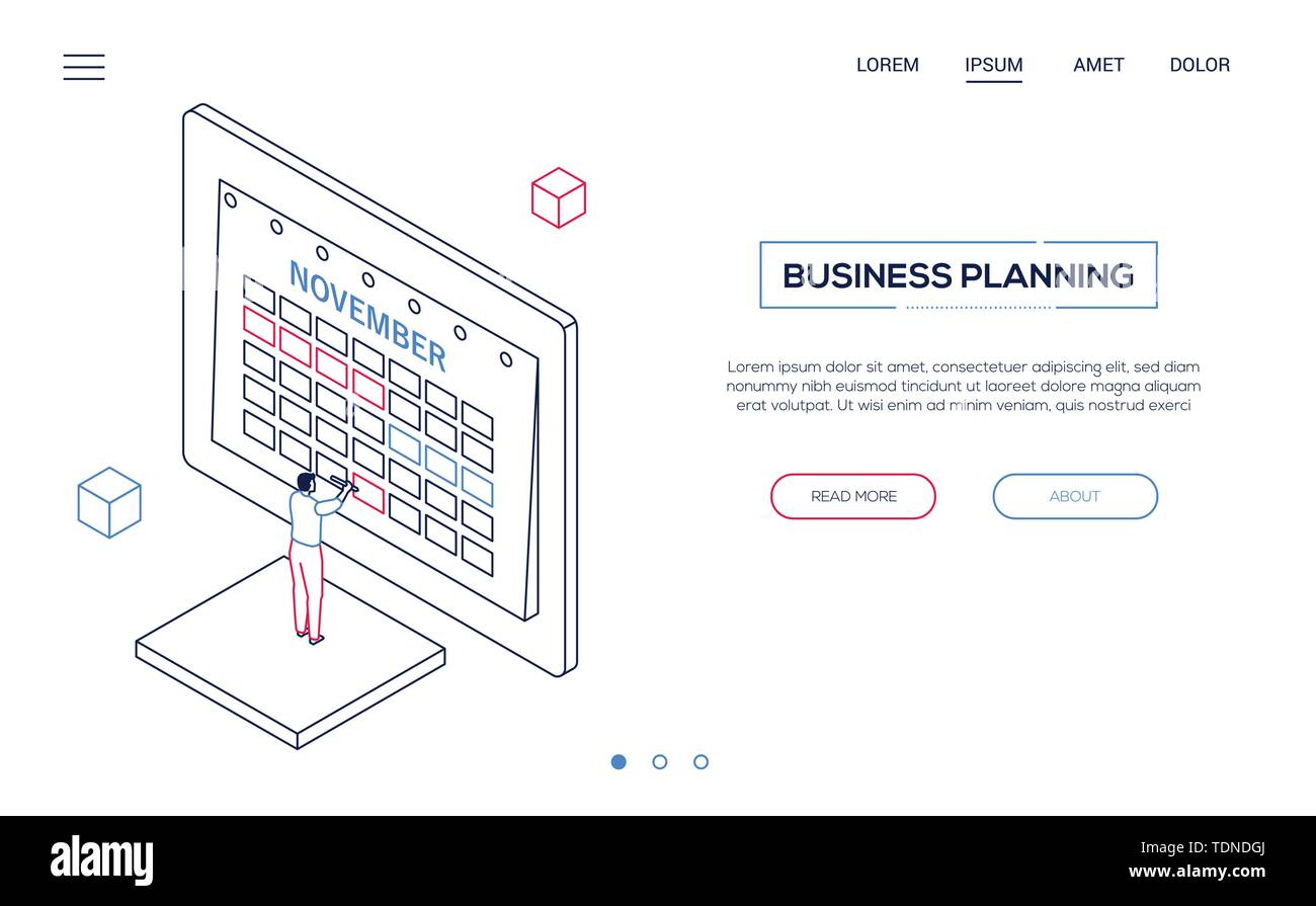 Business planning - line design style isometric web banner on white background with copy space for text. High quality header with businessman standing - Stock Image