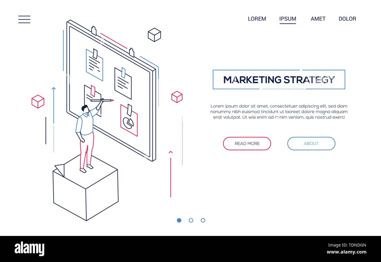 Marketing strategy - line design style isometric web banner n white background with copy space for your text. Website header with businessman standing - Stock Image