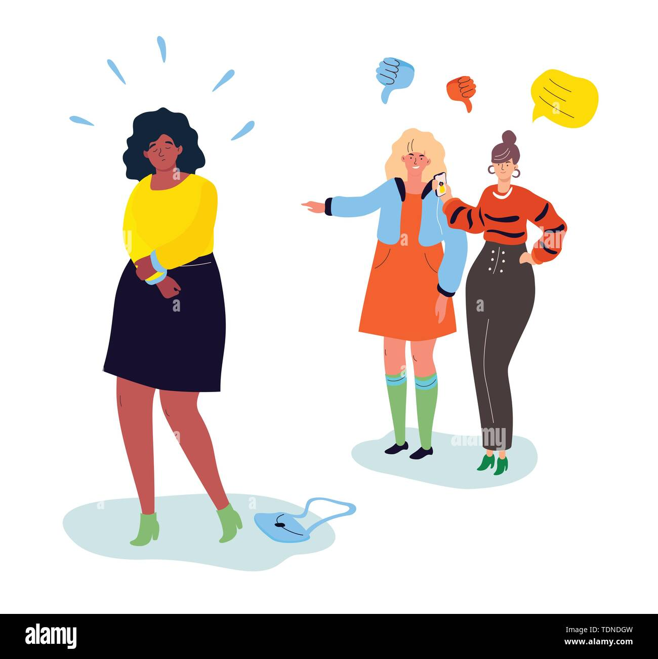 Bullying - modern colorful flat design style illustration on white background. A composition with teenagers mocking a girl, pointing and laughing at h - Stock Image