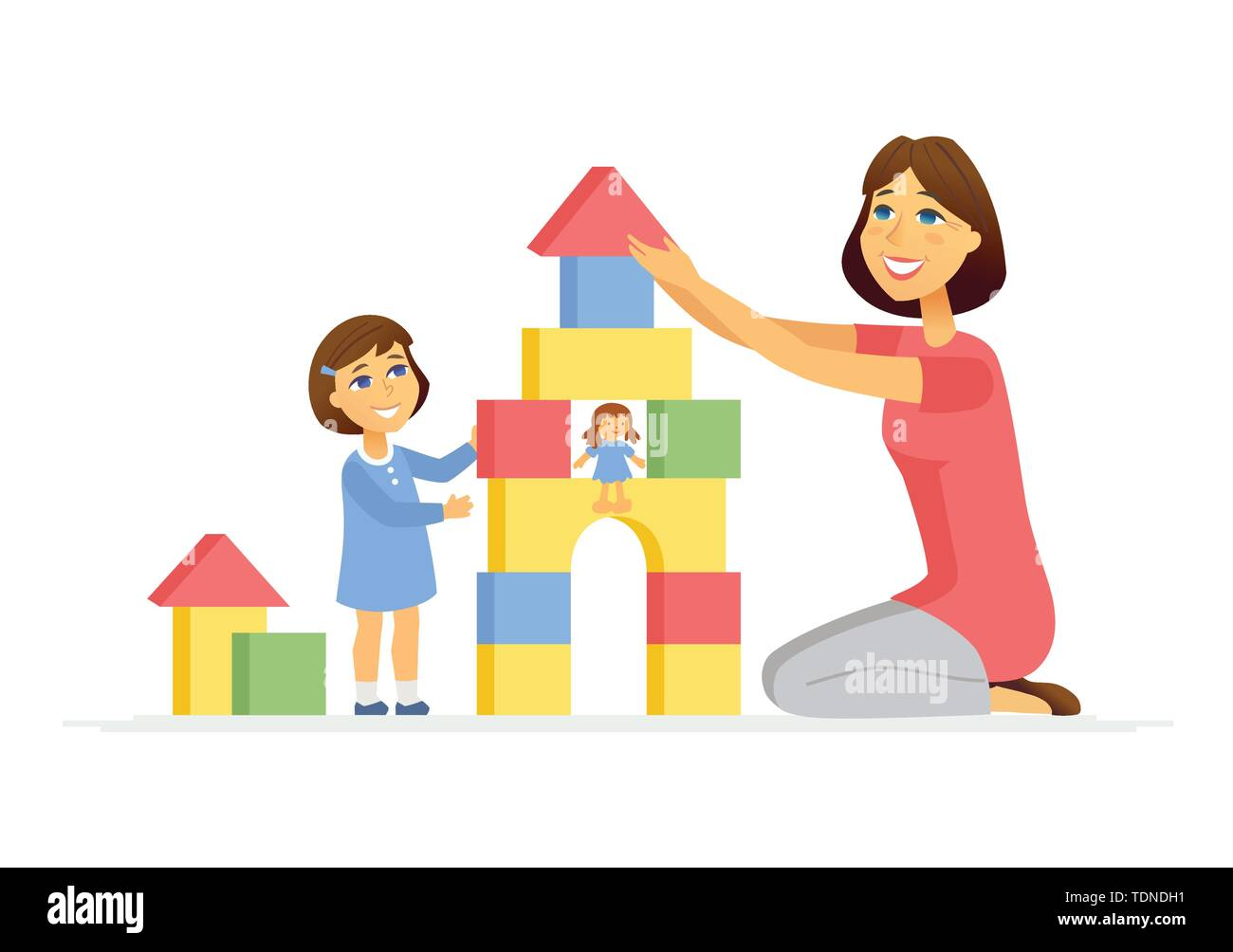 Mother and daughter playing - cartoon people characters illustration isolated on white background. Young woman and her kid building a toy castle, pyra - Stock Image