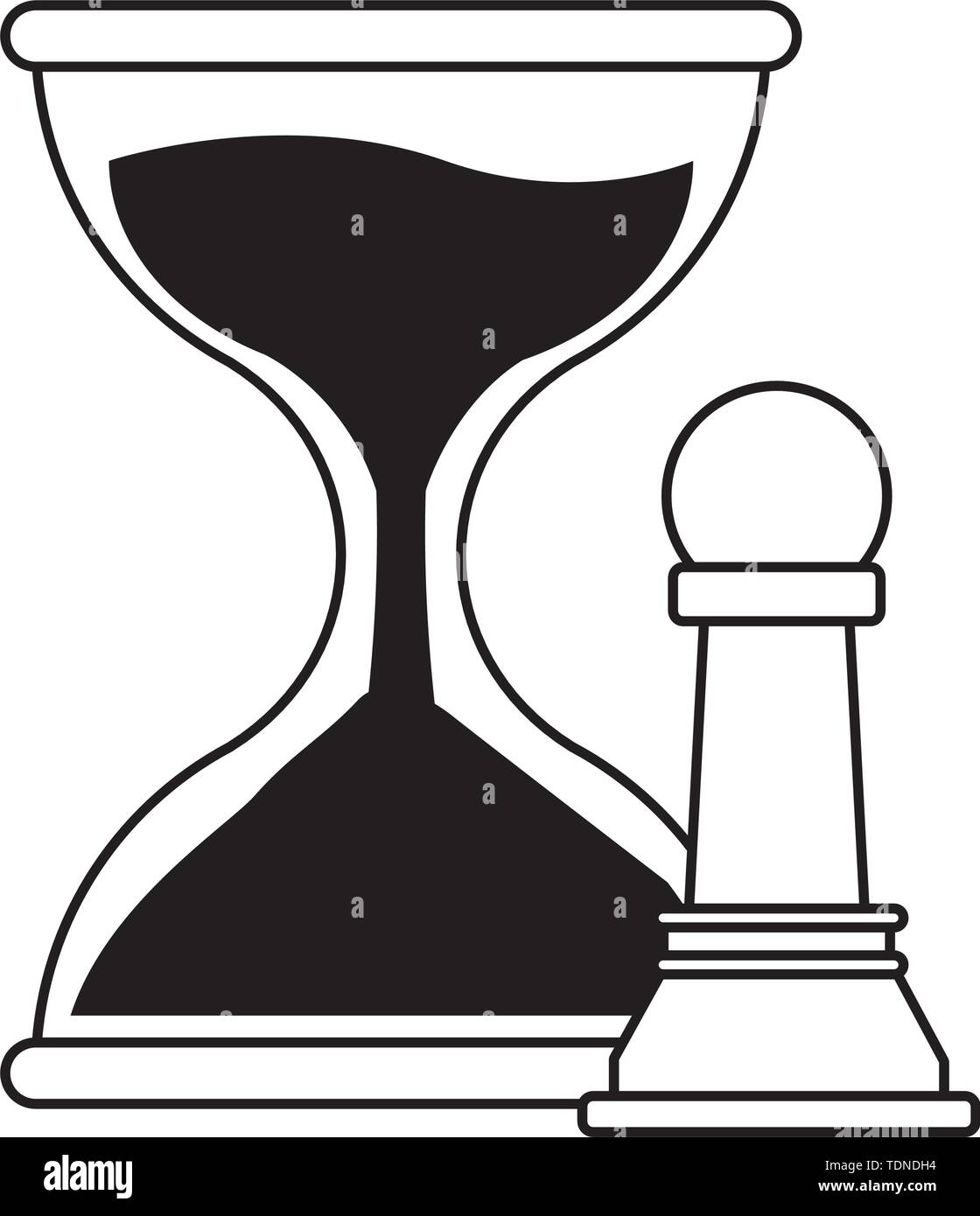 hourglass sand timer with chess pawn icon cartoon in black and white vector illustration graphic design - Stock Image
