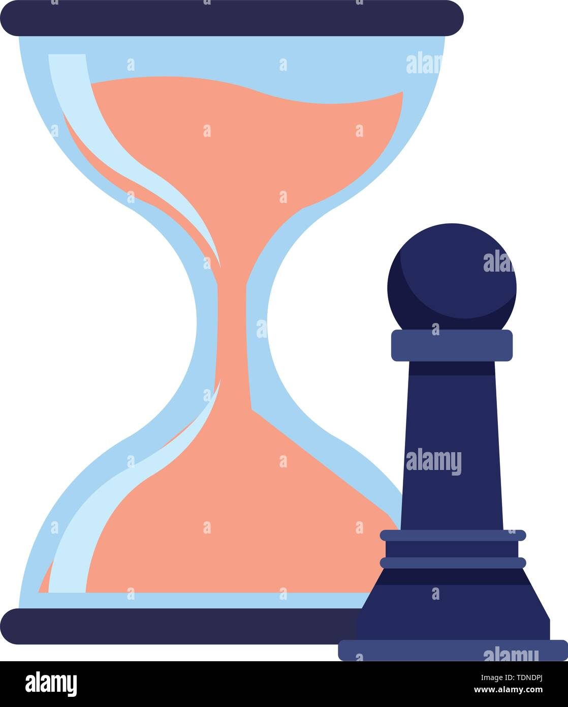 hourglass sand timer with chess pawn icon cartoon - Stock Image