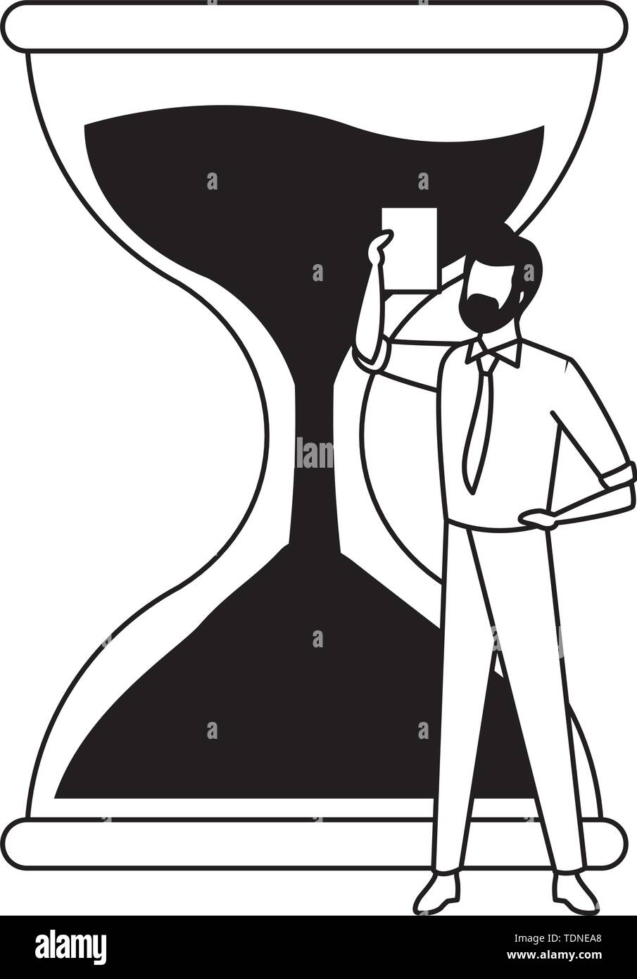 hourglass sand timer with businessman wearing beard and holding a paper icon cartoon in black and white vector illustration graphic design - Stock Image