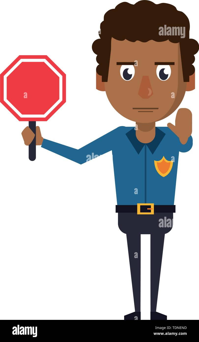 afro policeman working with roadsign avatar cartoon character vector illustration graphic design - Stock Image