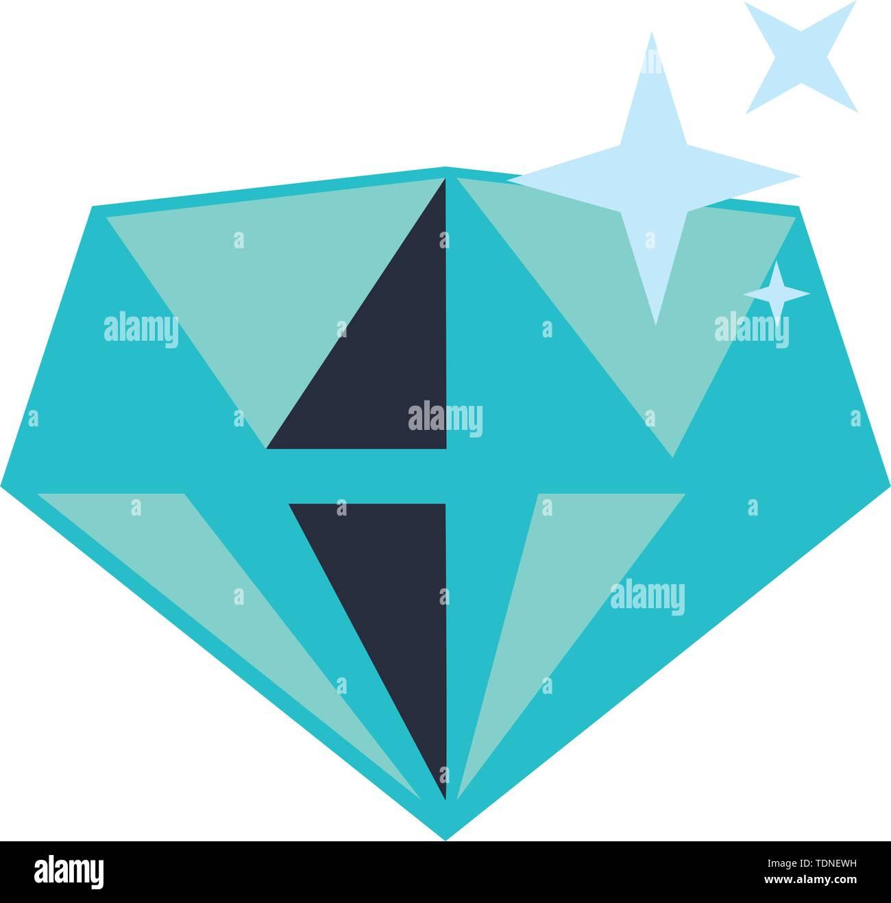 Diamond luxury rock symbol isolated vector illustration graphic design - Stock Image
