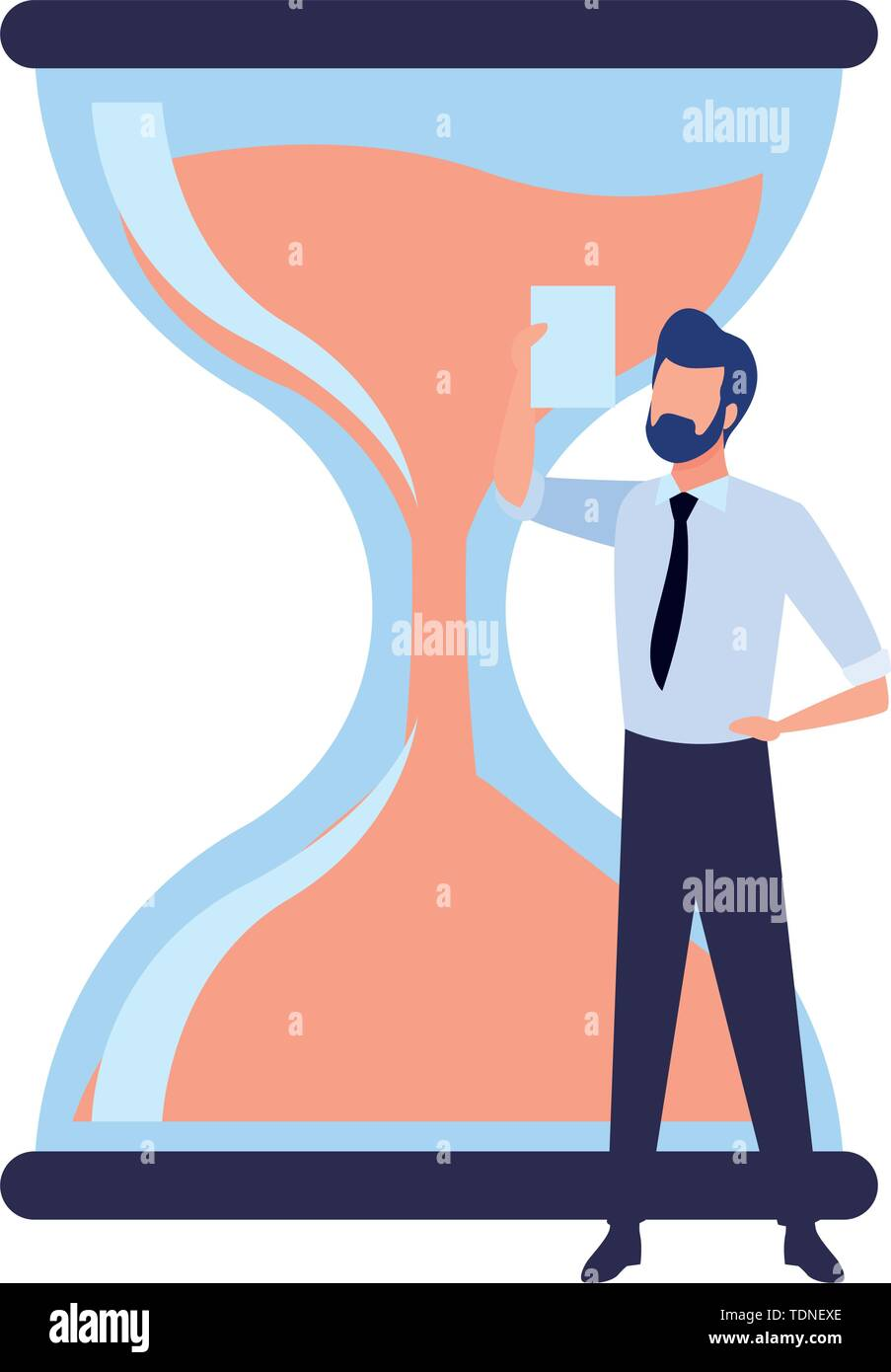 hourglass sand timer with businessman wearing beard and holding a paper icon cartoon - Stock Image