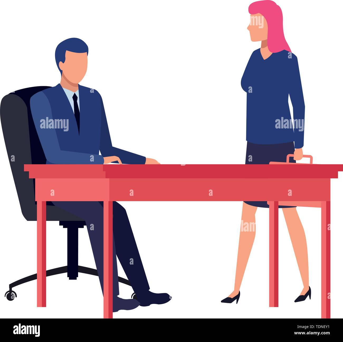 business business people businessman sitting on a desk and businesswoman carrying a briefcase avatar cartoon character vector illustration graphic des - Stock Image