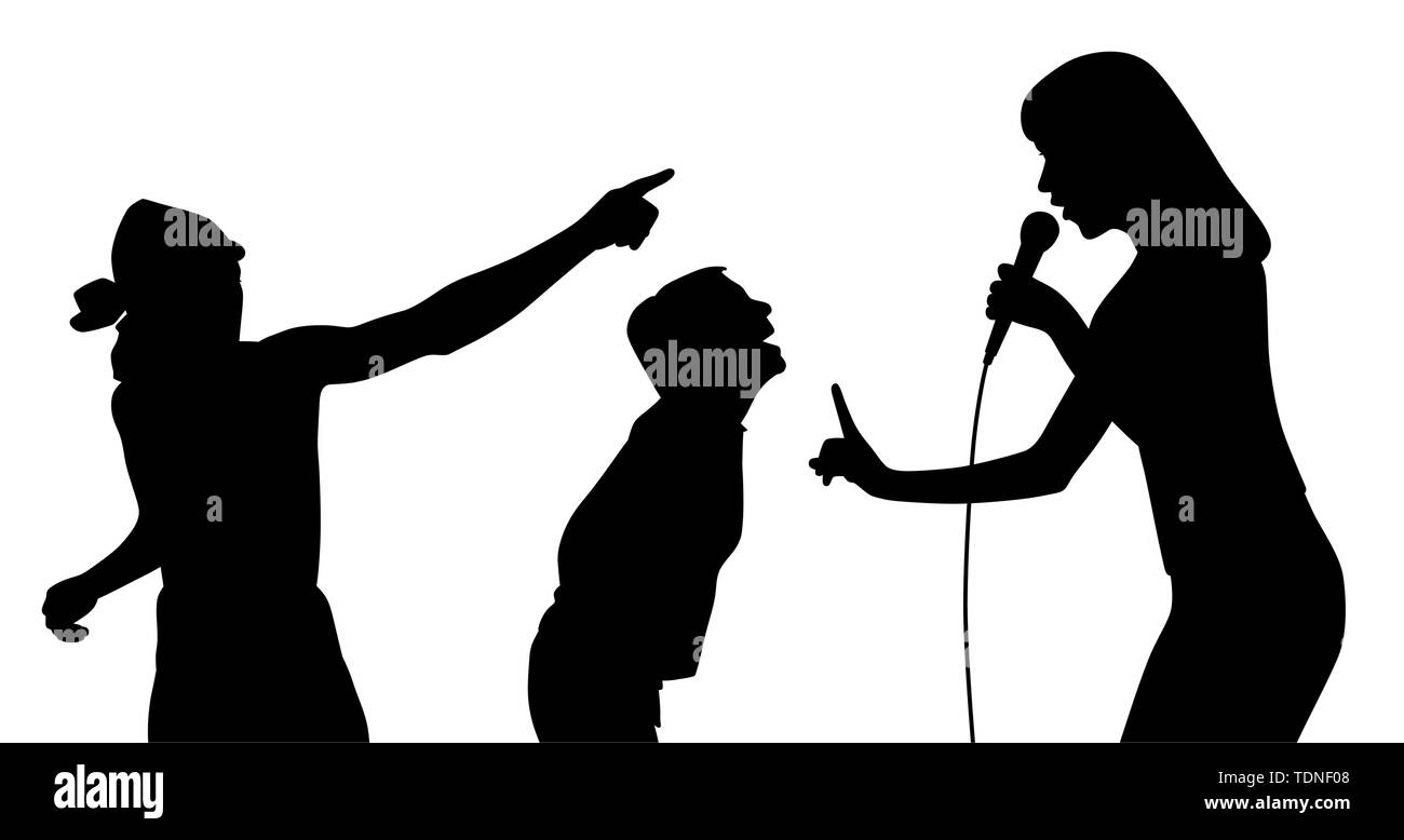 Illustration silhouette of a female singer and her fans. Isolated white background. EPS file available. - Stock Image