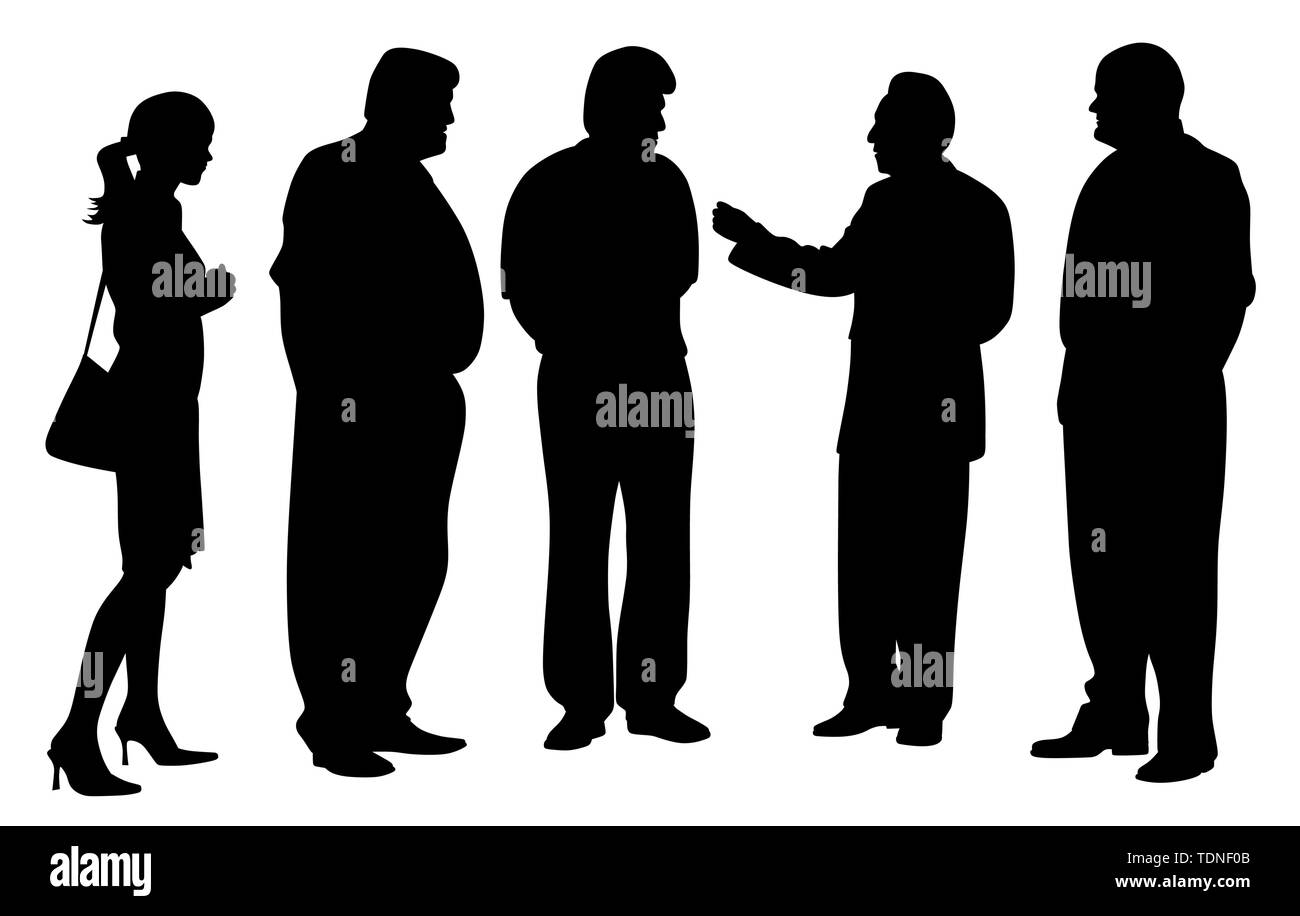 Illustration silhouette of a group of business people at a meeting talking. Four businessmen and one businesswoman talking about new project plan. Iso - Stock Image