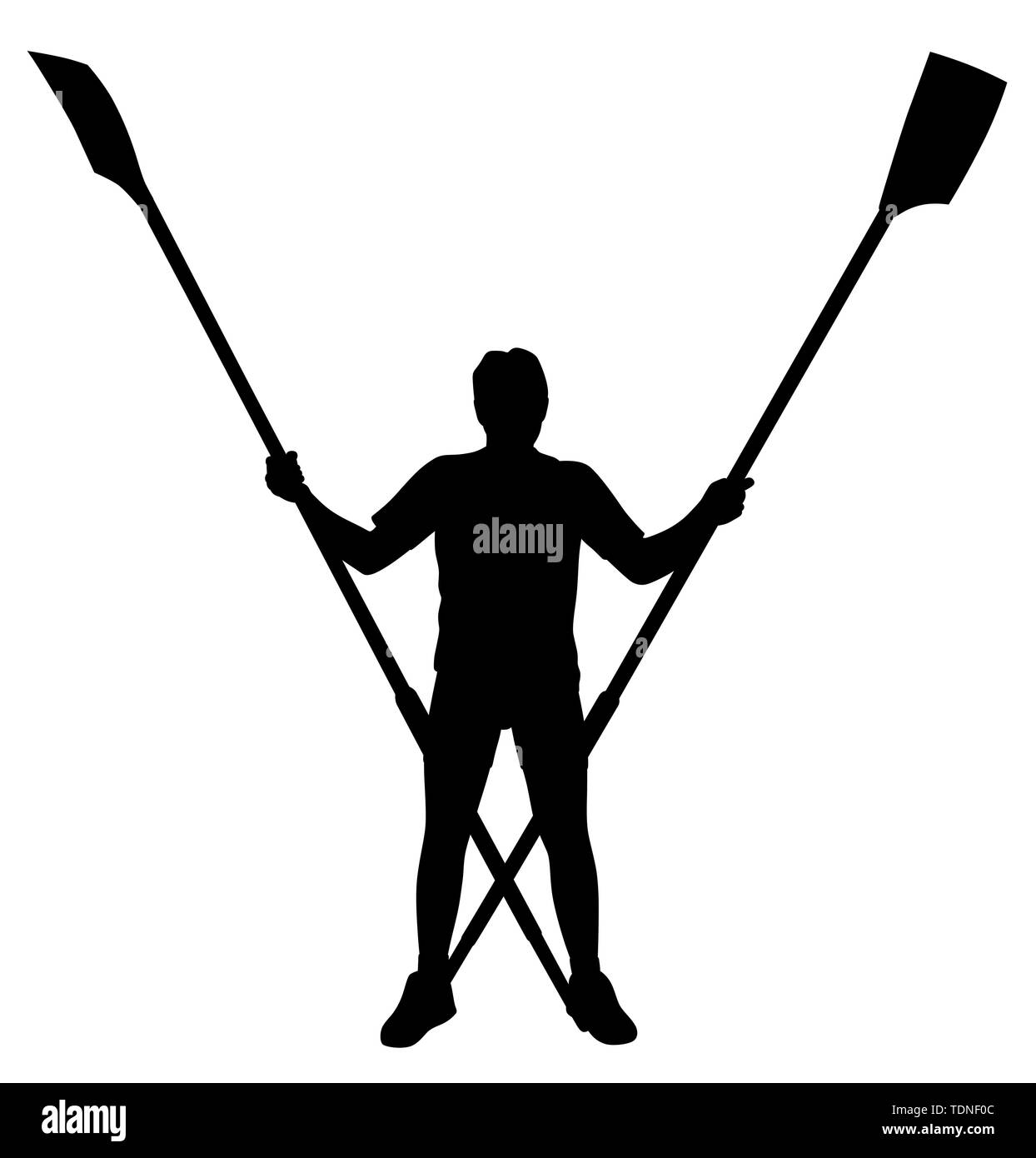 Illustration silhouette of a male rower standing with crossed rowing oars. Isolated white background. EPS file available. - Stock Image