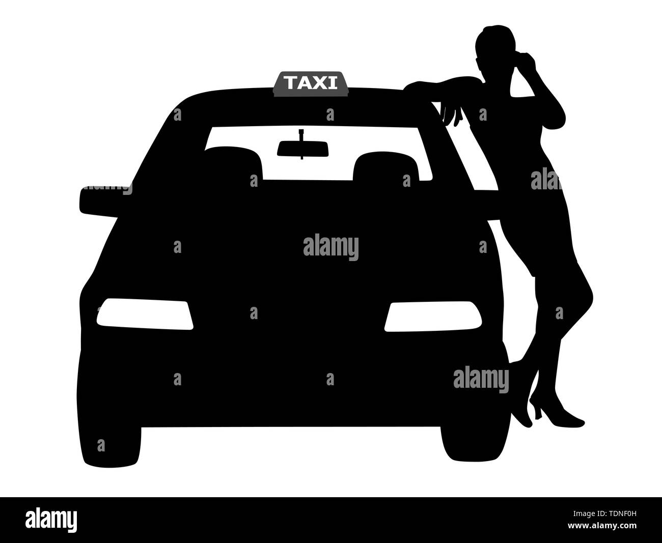 Illustration silhouette of a woman taxi driver standing next to the taxi service car, waiting for a passenger. Isolated white background. EPS file ava - Stock Image