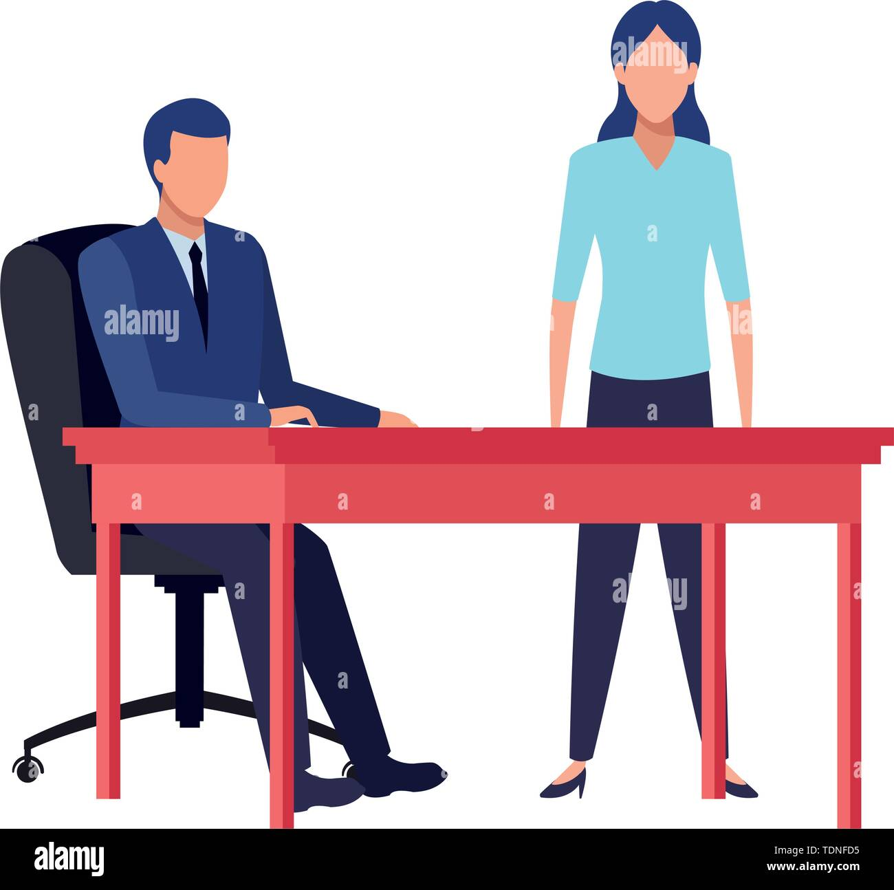 business business people businessman sitting on a desk avatar cartoon character vector illustration graphic design - Stock Image