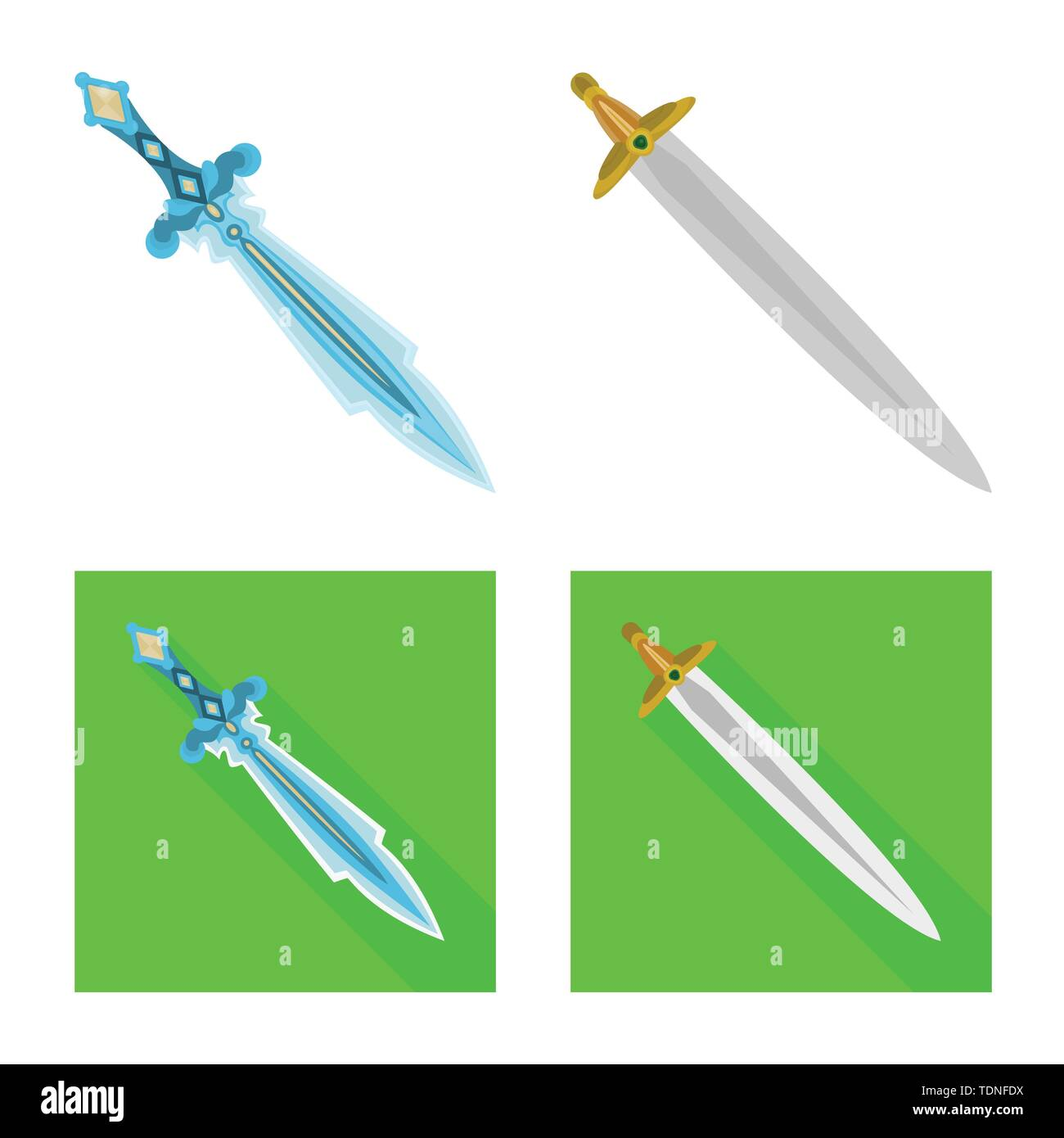 Isolated object of game and armor sign. Set of game and blade stock symbol for web. - Stock Image