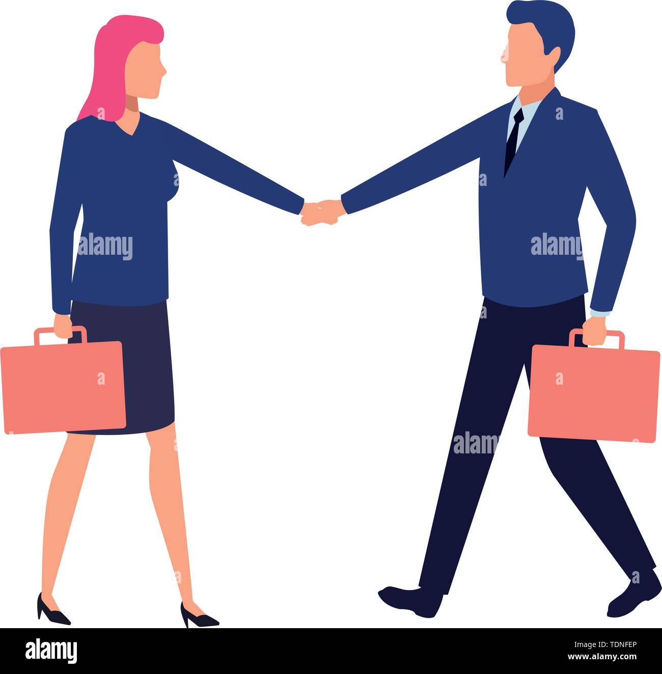 business business people businessman and businesswoman shaking hands and carrying a briefcase avatar cartoon character vector illustration graphic des - Stock Image