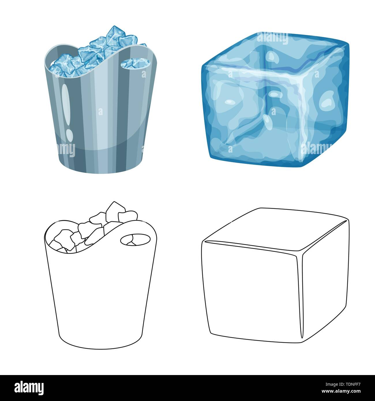 Vector illustration of texture and frozen symbol. Set of texture and transparent stock vector illustration. - Stock Image