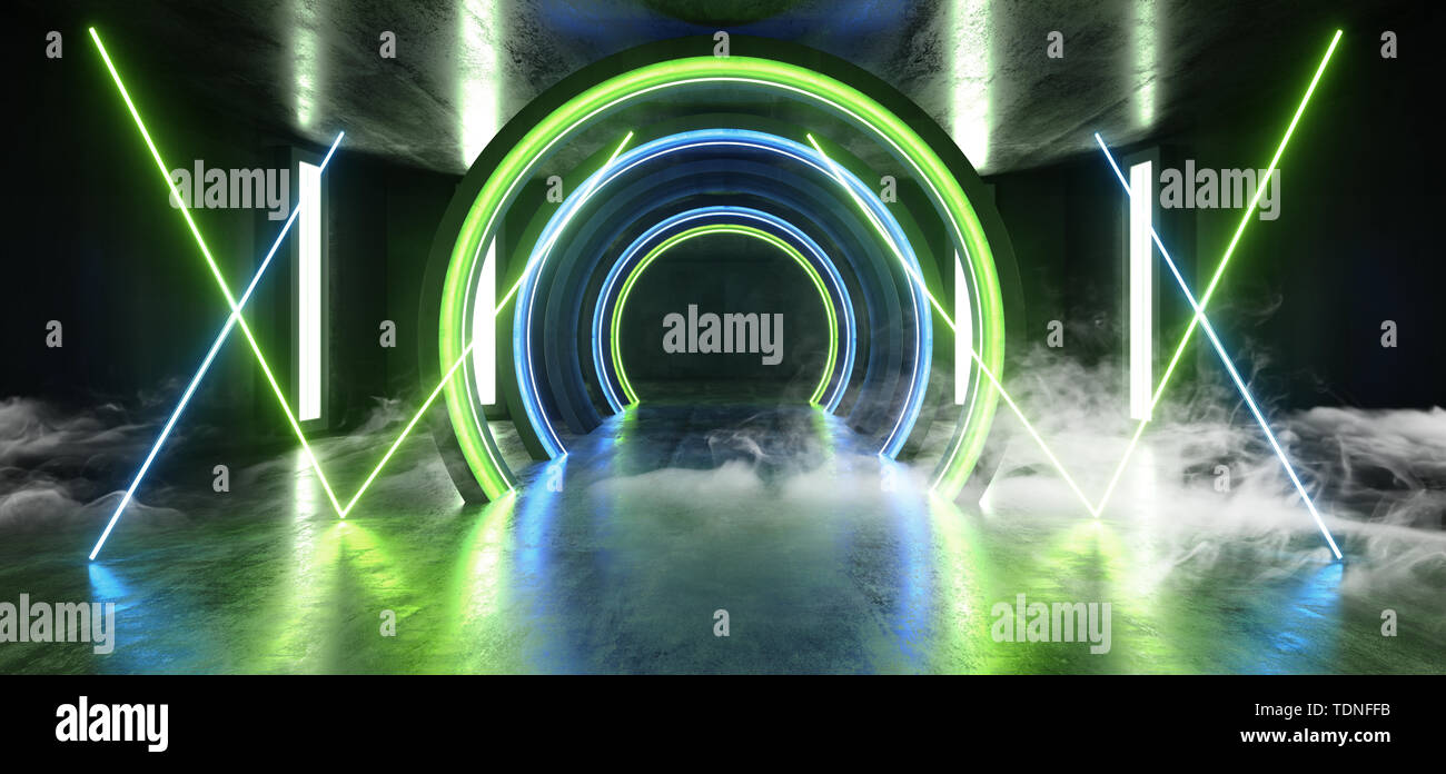 Smoke Future Sci Fi Circle Concrete Grunge Neon Lights Glowing Green Blue Studio Dark Empty Underground Tunnel Corridor Vibrant Garage Gallery Arc Ent - Stock Image