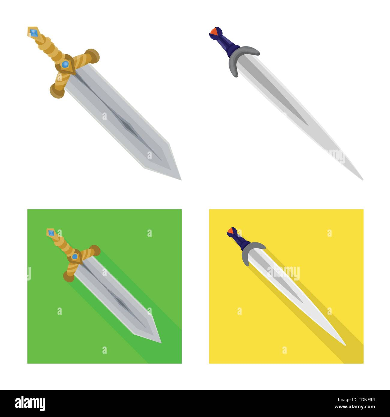 Isolated object of game and armor sign. Collection of game and blade stock symbol for web. - Stock Image