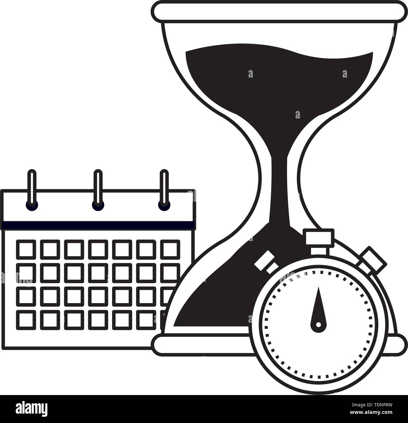 hourglass sand timer with chronometer and calendar icon cartoon in black and white vector illustration graphic design - Stock Image