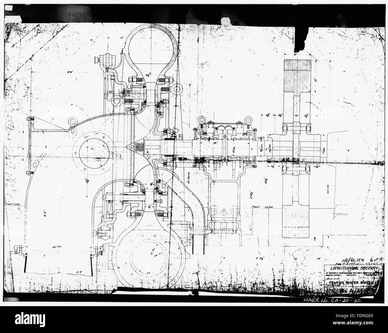 Photocopy of microfiched construction drawing by Pelton Water Wheel