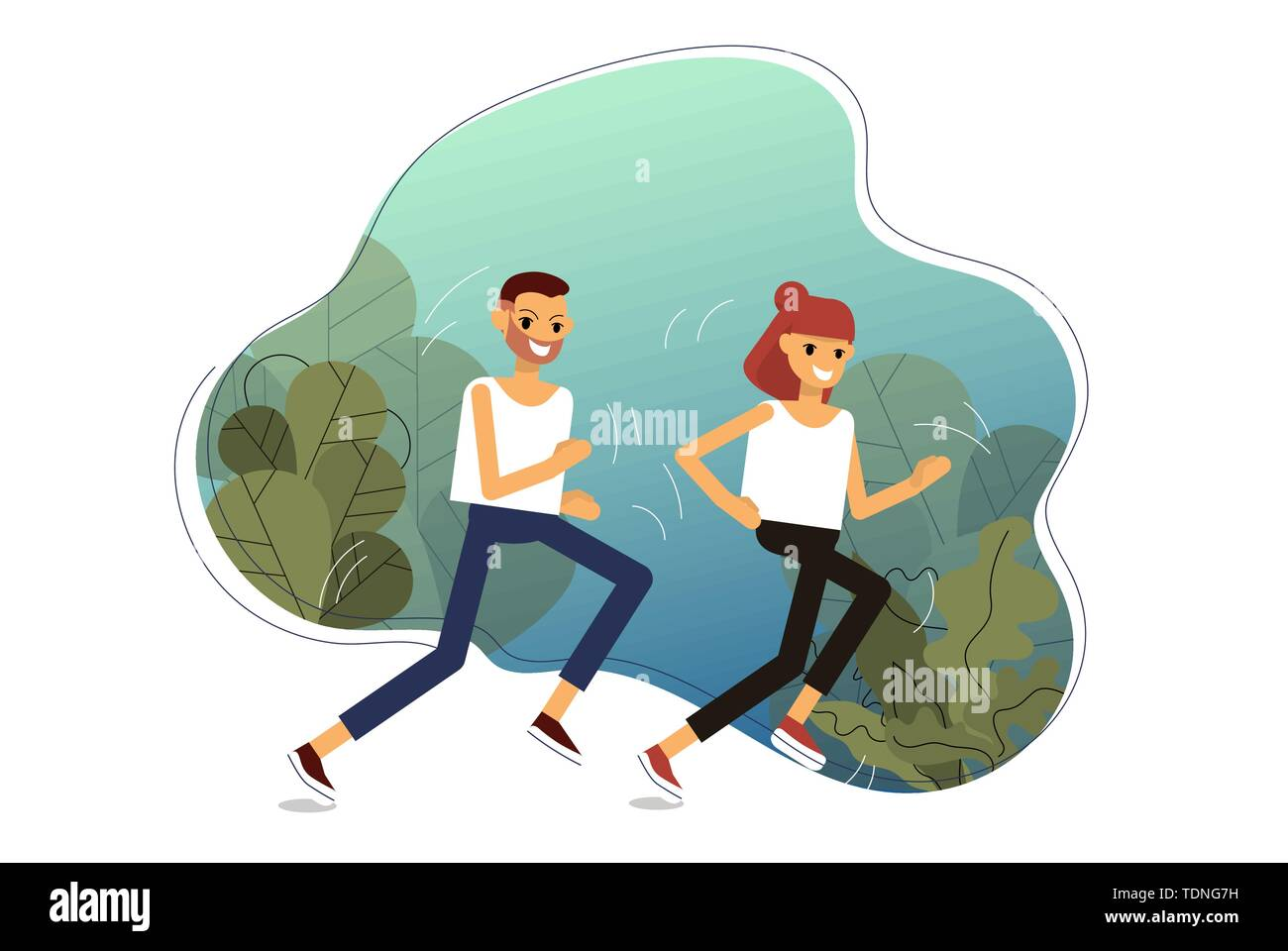 Young couple is jogging in forest. Isolated on white background. Flat style stock vector illustration.. - Stock Image