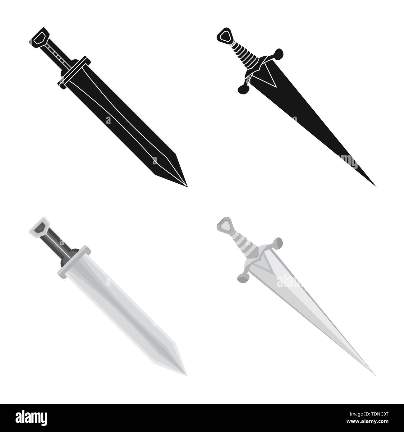 Vector illustration of game and armor logo. Collection of game and blade stock symbol for web. - Stock Image